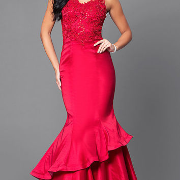 V-Neck Mermaid Formal Prom Dress 2018 with Lace