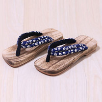 Japanese Man clogs Sandals Flat Flip Flops for men/women lovers Wood Slippers Summer Cosplay Shoes