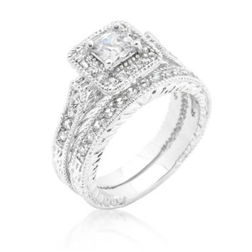 Chiara Princess Cut Halo Engagement and Wedding Ring Set | 2.2ct | Cubic Zirconia