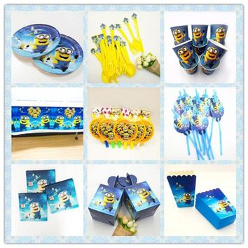 Minions Tableware Yellow Movie Baby Birthday Party Decorations Kids Girl And Boy Disposable Party Supplies Party Decoration Set