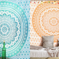 2 Tapestries Floral Twin Bohemian Wall Hanging Beach Throw Picnic Mat Bedspread