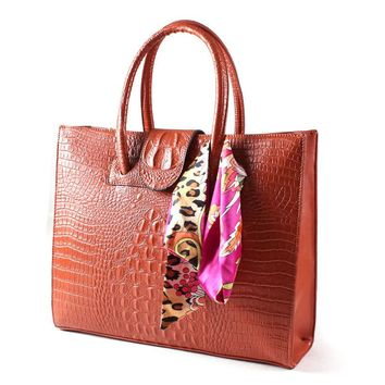 Luxury Croc Hand Bag - Genuine Cow Leather - Italian Designer