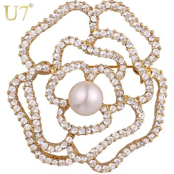 U7 Full Crystal Rhinestone Flower Rose Brooches Women Jewelry Bridesmaid Gift for Her Beautiful Brooch Lapel Pin 2017 New B128