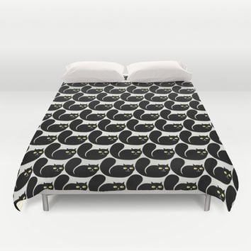 Black CATS Duvet Cover by All Is One
