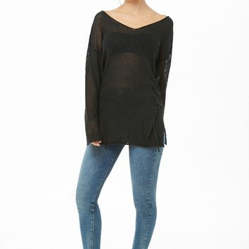 Sheer Lace-Up Top