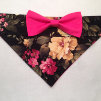 Dog Bandana - Floral Print with Pink Bow
