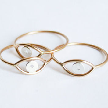 Gold Evil Eye Ring Solid Gold Ring Thin Ring by StefanieSheehan