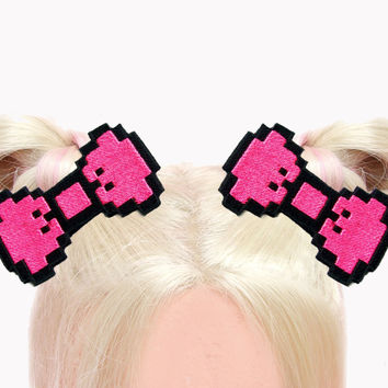 Hot Pink Pixel Bow Hair Clip