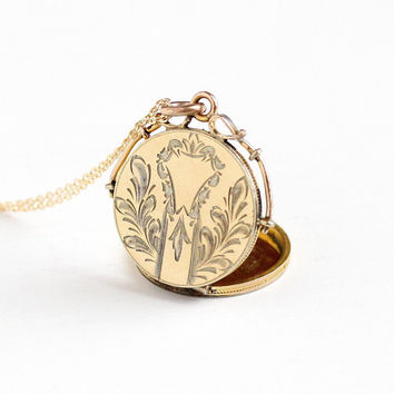 Antique Victorian Gold Filled Locket Necklace - Vintage Late 1800s Fob Charm Pendant Vine Scrolling Bail Foliate Jewelry