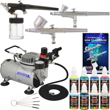 New 3 Airbrush Kit 6 Primary Colors