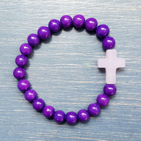 Kid's Cross Bracelet: Purple Mountain Jade & Rose Quartz