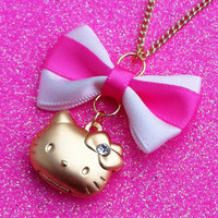 Gold Plated Hello Kitty Locket Necklace