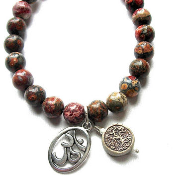 Leopard Skin Jasper Bracelet with Silver Ohm charm, and high fired clay Tree of Life charm  Jewelry, cancer awareness