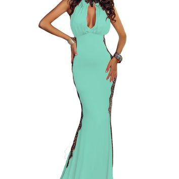 Chicloth Light Blue Peekaboo Halterneck Lace Trim Party Gown