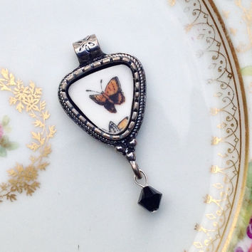 Broken China Jewelry Pendant Butterfly Necklace Unique Gift for Her