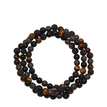 Men's Beaded Wrap Bracelet with Brown Tiger Eye