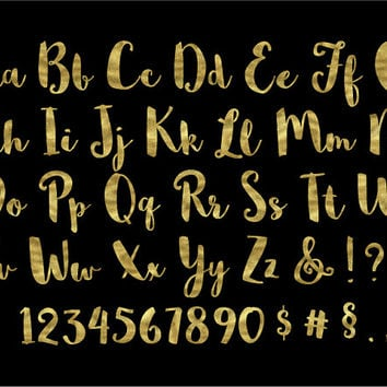 Gold Alphabet Clipart. Gold Foil Letters, Numbers, Symbols. Hand Written Gold Font for Wedding. Metallic Brush Script - 300dpi - PNG -