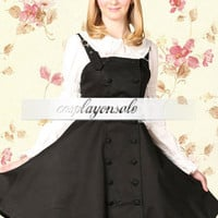 Lolita Costumes Cotton Black Buttons Cosplay Lolita Dress [T110422] - $73.00