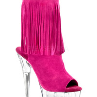 Suede Fringed Ankle Boot With 6 Inch Heels-Stripper Boots