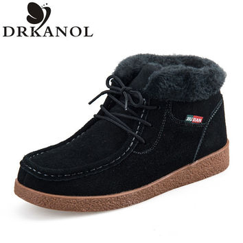 Genuine Leather Women Boots 2016 Autumn Winter Warm Woman Snow Boots Lace-Up Slip On Fur Womens Casual Ankle Cotton Boots A&5556