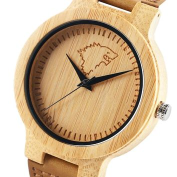 Nature Wooden Watches Men Awesome Game of Thrones Style Fashion Bamboo Wood Wristwatch House Stark Wolf Head Male Clock Hour