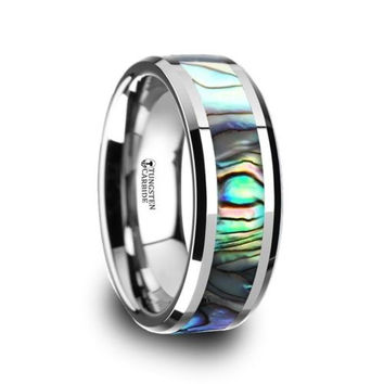 4mm - 10mm MAUI Tungsten Carbide Ring with Mother of Pearl Inlay