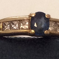 Diamond and Sapphire Gold Ring, Channel Set, 18K Gold Engagement, Art Deco Style Wedding SALE