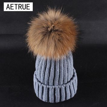 Women Winter Hat Real Mink Fur Beanies Winter Hats For Women Fox Fur Pom Poms Ball Caps Brand Bonnet Girls Skullies Hats 2016