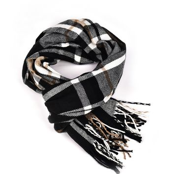 Women Plaid Cashmere Scarf Long Large Warm Tartan Scarves Wrap Shawl