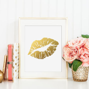 Lips Gold Foil Print - kiss gold foil print - gold foil print - gold foil office decor - gold office decor - gold nursery decor - gold home