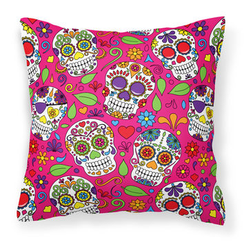 Day of the Dead Pink Fabric Decorative Pillow BB5115PW1414