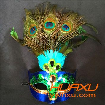 DKF4S Hot!Party Mask Woman Female Masquerade Masks Luxury Peacock Feather Half Face Mask Party Cosplay Costume Halloween Venetian Mask