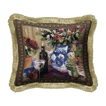 Fine Art Tapestries Home Decorative Red Roses With Wine Cotton Pillow