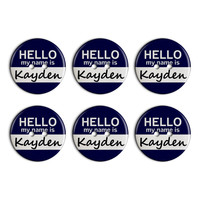 Kayden Hello My Name Is Plastic Resin Button Set of 6