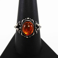 Art Nouveau Amber Ring, Art Deco Era Vintage 1940's Sterling Silver Ring wth an Oval Domed Amber Cabochon, Signed STERLING