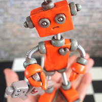 Robot Sculpture Orange Olie Rustic Bot with Robot Doll MADE TO ORDER - Clay, Wire, Paint