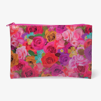 Floral Patent Cosmetic Pouch