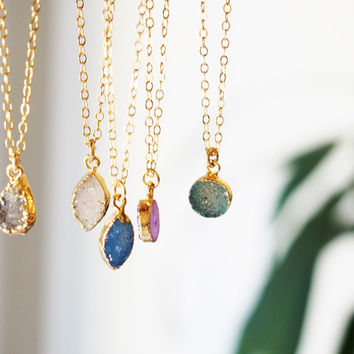 Small Druzy Gemstone Gold Filled Pendant Necklace