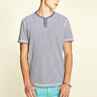 Striped Henley Blue/White