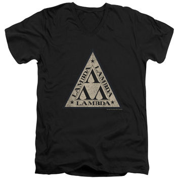 Revenge of the Nerds Tri Lambda Logo Black V-Neck T-Shirt