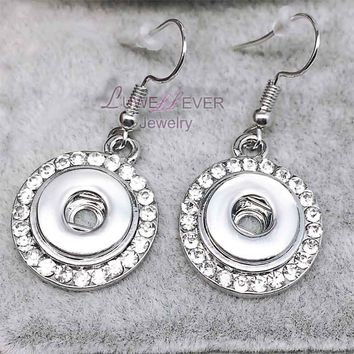 high quality 01 Hot Sale Rhinestones 12mm Snaps Button Earring For Women Charms White K Plated Design Snaps Earrings Jewelry