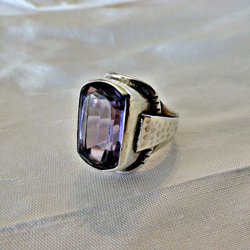 Antique Arts Crafts Sterling Amethyst Hammered Ring