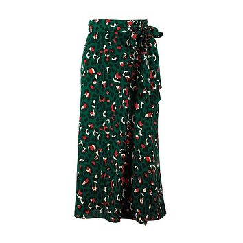 2019 new lady fashion print dressMoirlicer Vintage Leopard Print Long Skirts Women High Waist Midi Skirt Bow Tie 2019 Summer Sexy Split Wrap Skirt Ladies Green