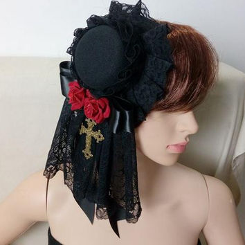 Retro Women Steampunk Mini Top Hat Goth Cross Rose Flower Girl Hair Accessories