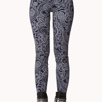 FOREVER 21 Boho Paisely Print Leggings Navy/Grey Small