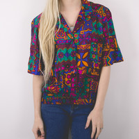 Vintage Colorful Geometric Blouse