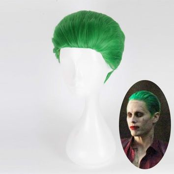Suicide Squad The Joker Green Wig Cosplay Costume Short Hair Halloween Party Wigs+wig cap