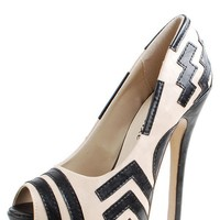 Styluxe Maxs03 Beige Zig Zag Peep Toe Pumps and Shop Shoes at MakeMeChic.com