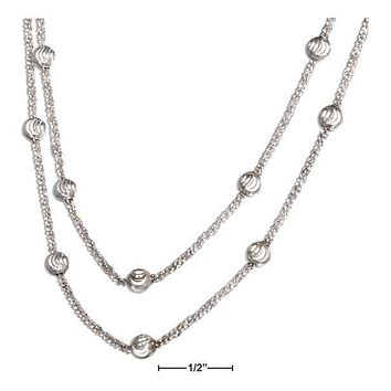 "STERLING SILVER 16-18"" DOUBLE GRADUATED STRAND POPCORN BEADED NECKLACE"