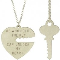 Key To My Heart Necklace Set with Silver Finish